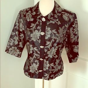 Lily Pulitzer Silver floral Cropped Jacket Size 10